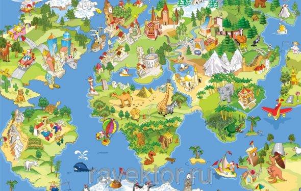 Фотообои карта мира цена